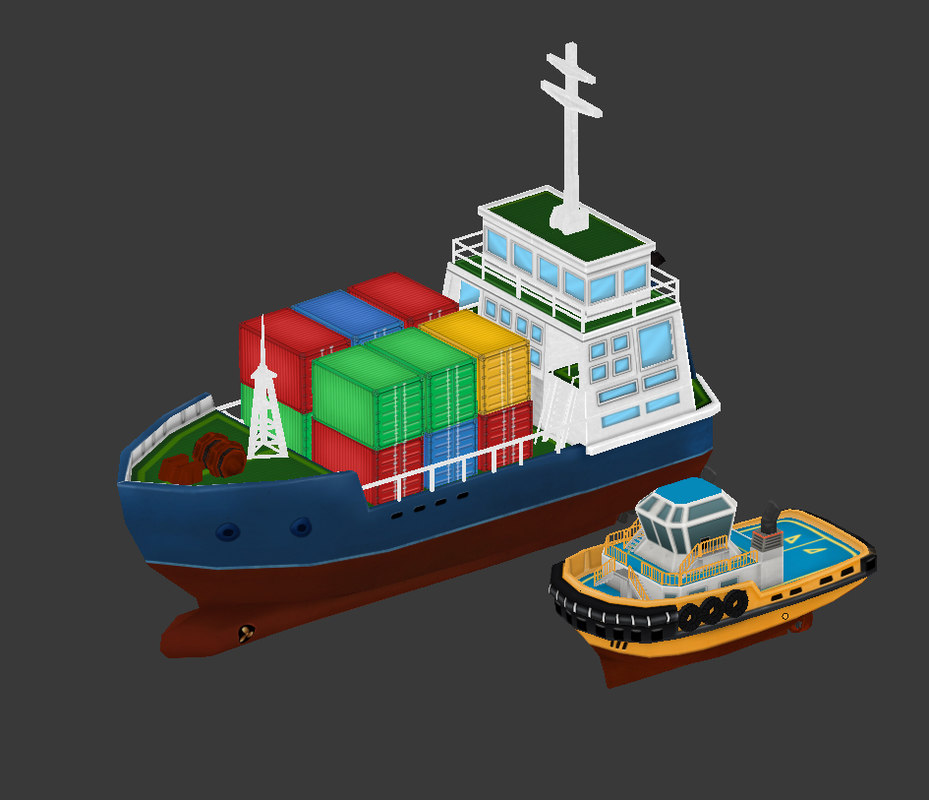 cartoon ship container 3D model