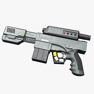 3D sci-fi laser pistol model