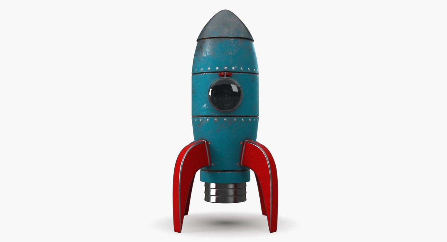 cartoon rocket model