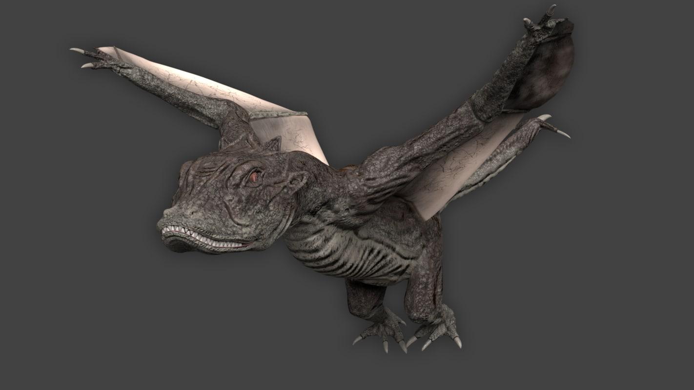 3D model dragon wyvern
