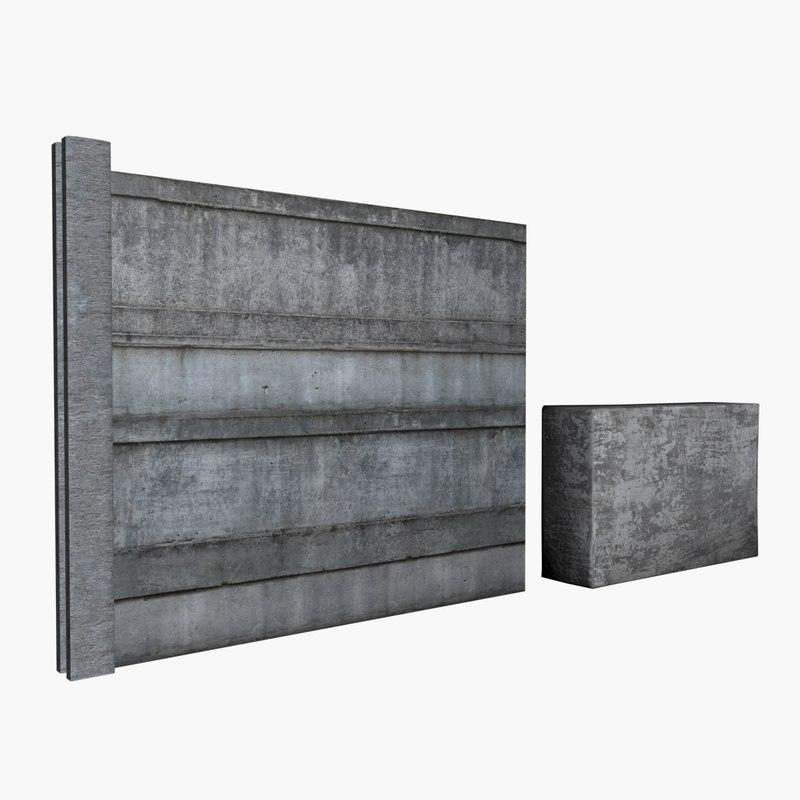 modular concrete wall 3D model
