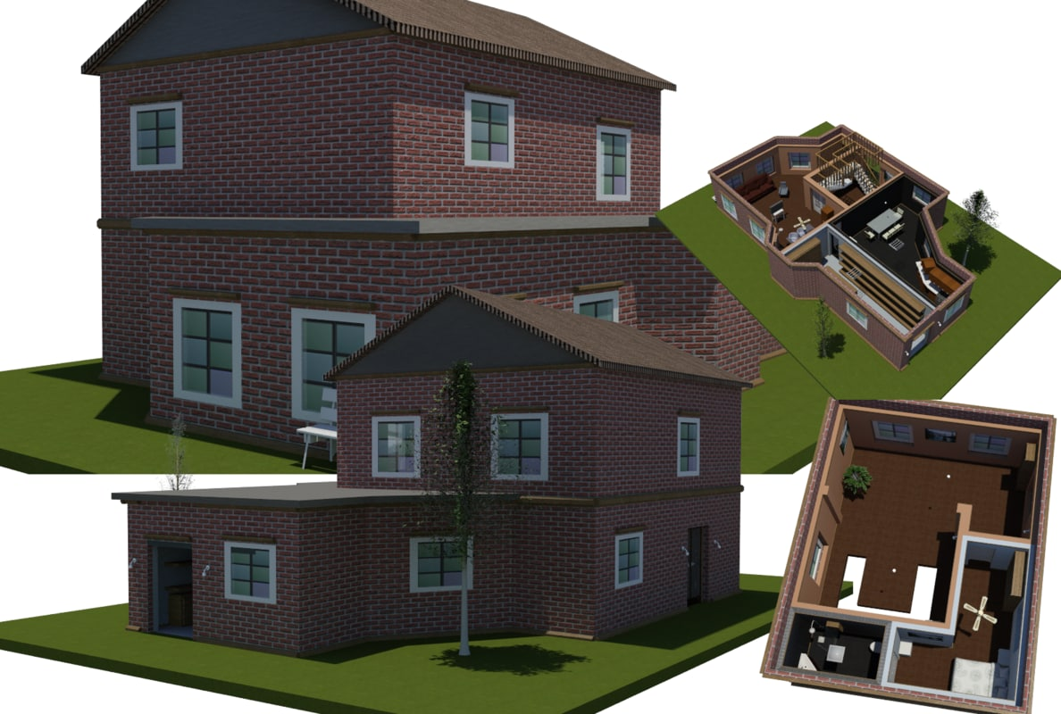 3D plan house interiors