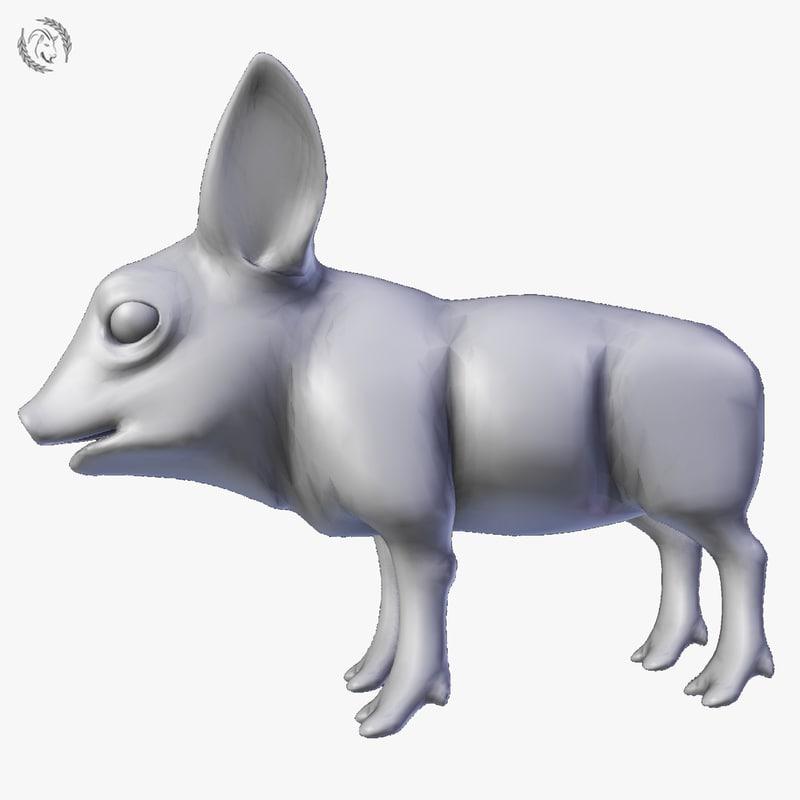 3D model pig piglet
