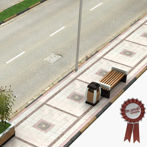 3D model sidewalk road walk
