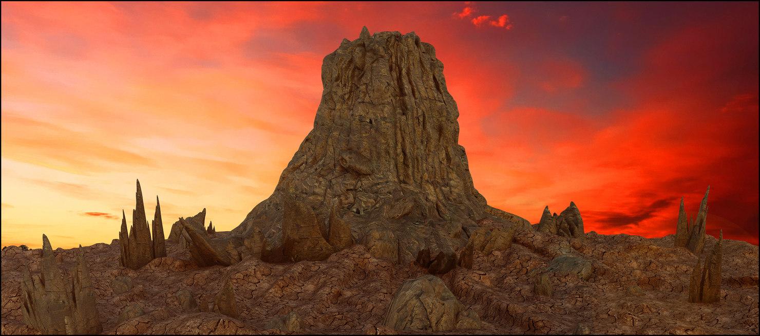 3D volcan volcano model