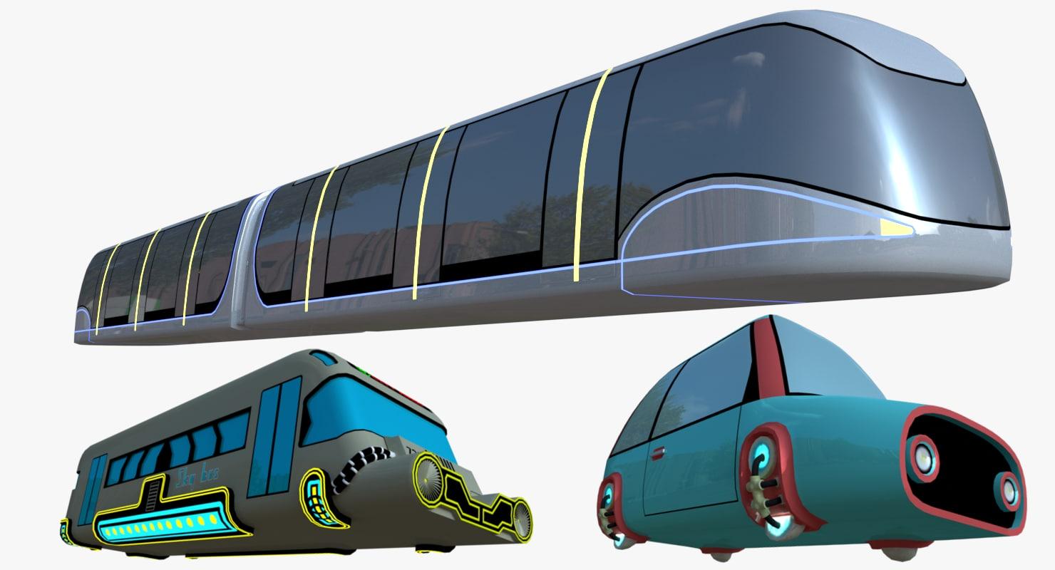 fictional hover car bus 3D model