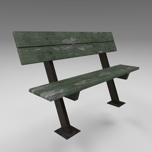 3D damaged urban bench