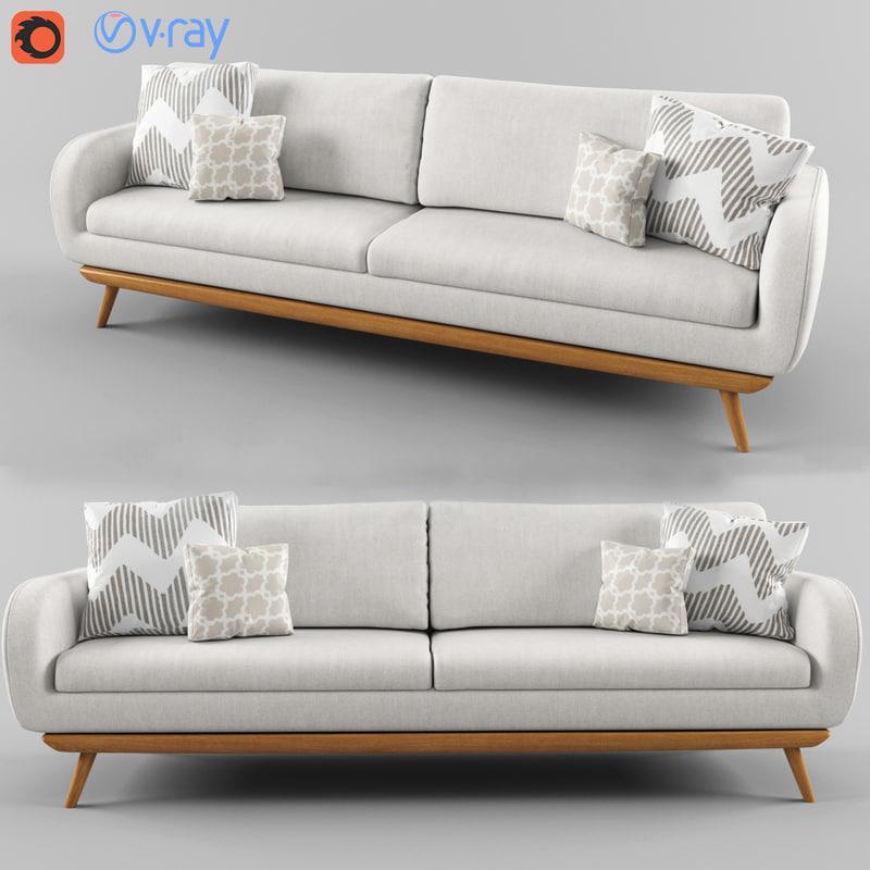 modern white sofa 3D model