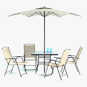 3D patio table umbrella set