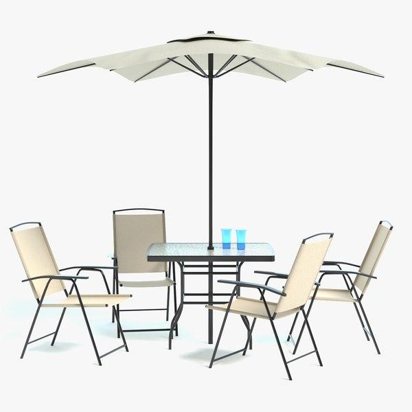 3D patio table umbrella set