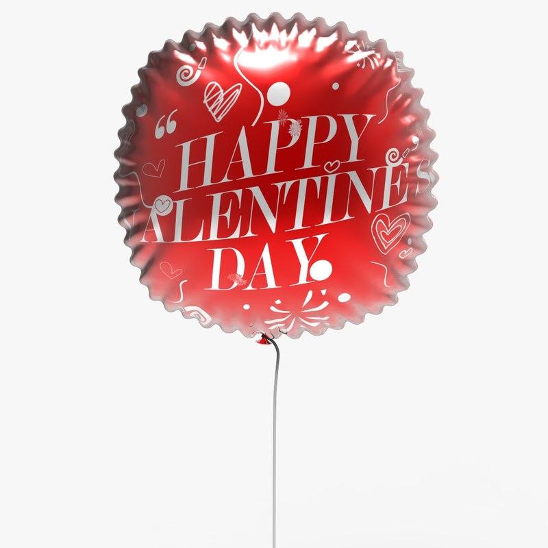 helium balloon valentine s 3D model