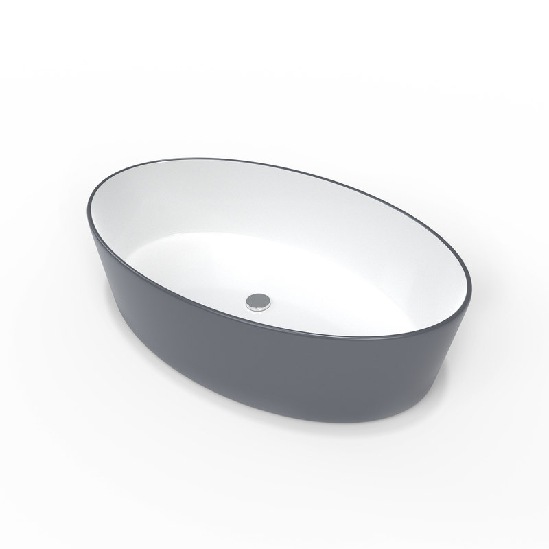 3D bluish gray ceramic sink