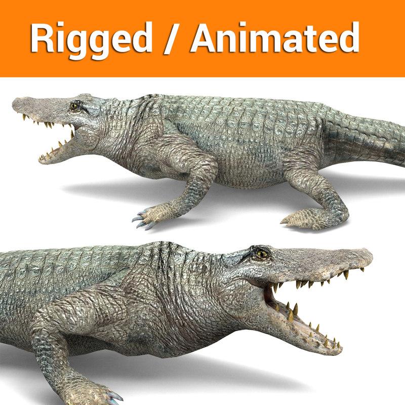 crocodile rigged ready animation 3D