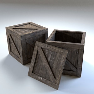 wood crate open variation 3D model