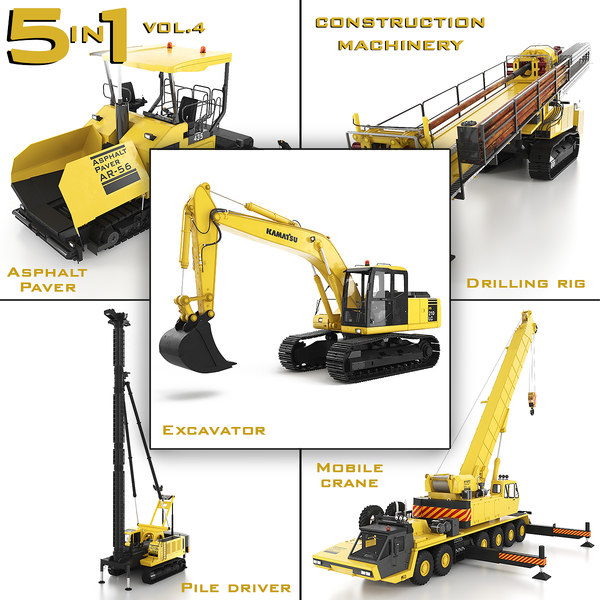 heavy construction machinery 5 3D model