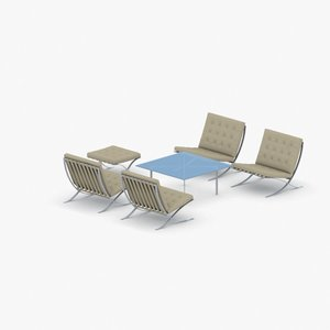 interior - sets modern chair 3D model
