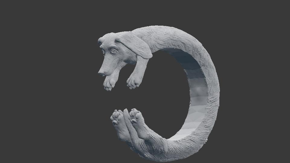 3D dachhund ring