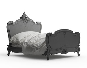 louis xv carved bed 3D model