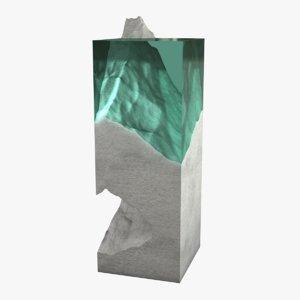 realistic glass concrete sculpture 3D model