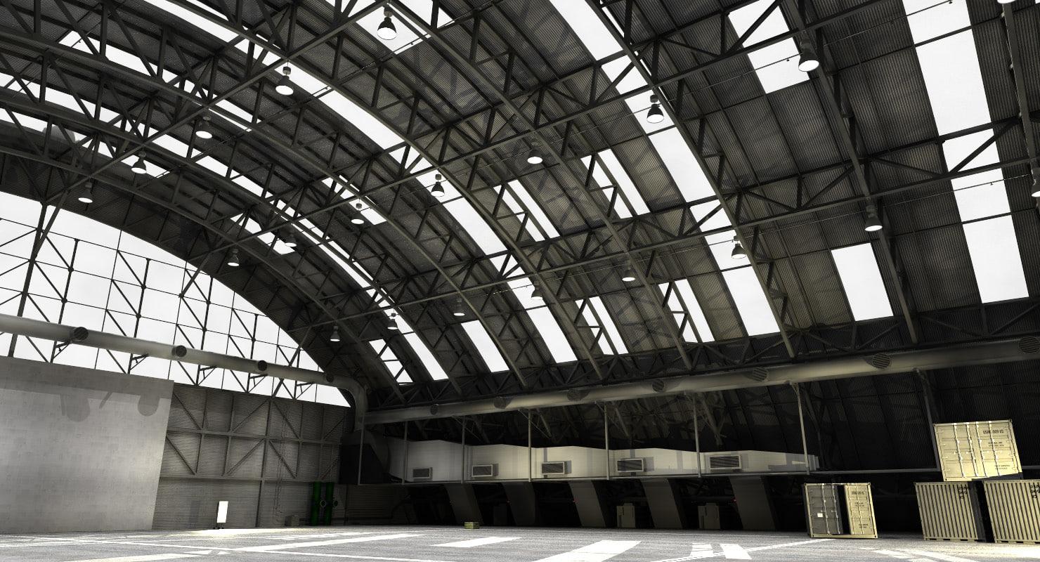 3D aircraft hangar model