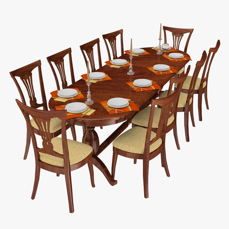 dining area chairs plates 3D model