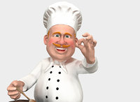 stylized caricature chef 3D model