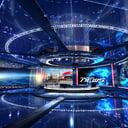 virtual set news studio 3D model