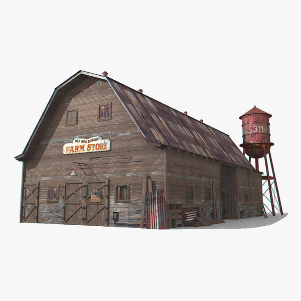 3D photorealistic old barn - model