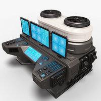 3D sci fi lab computer
