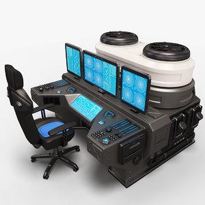 3D sci fi lab omputer model