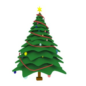 3D cartoon christmas tree