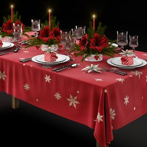 3D table tableware christmas model