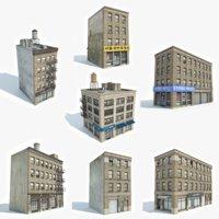 3D ready 7 apartment buildings model