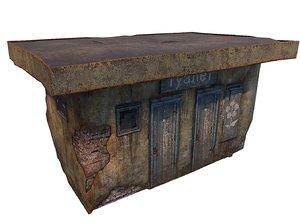 3D shed brick toilet model