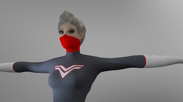 3D model lady kara female rigged