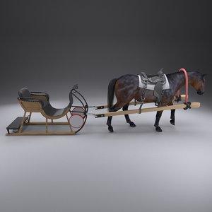 horse sledge model