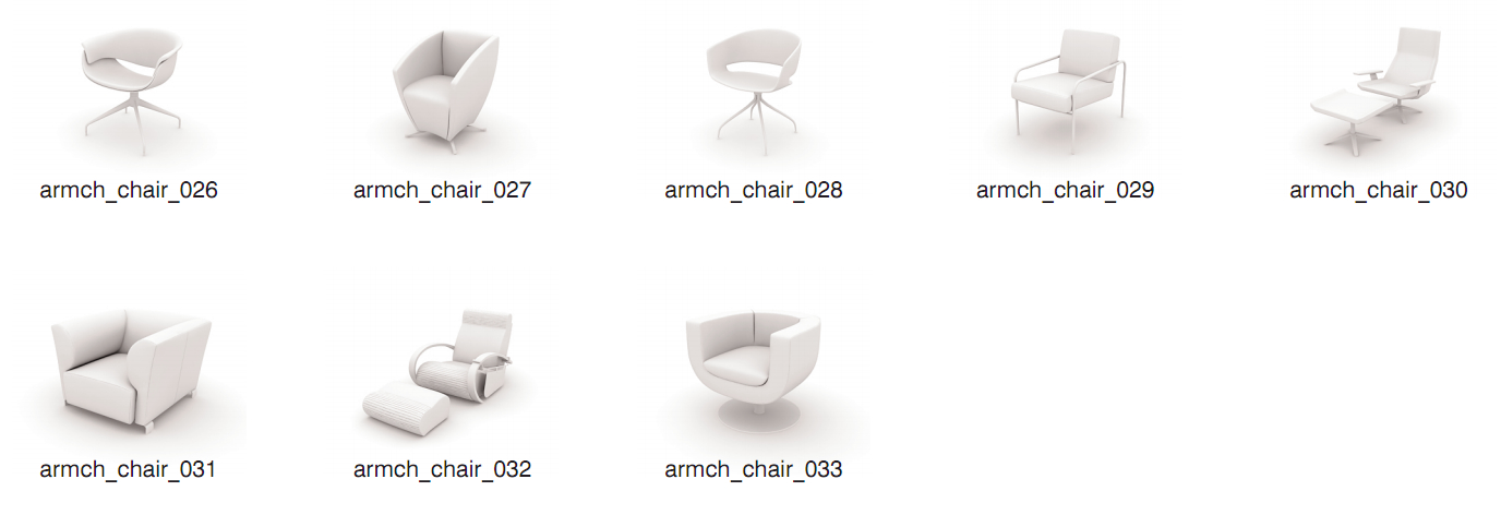 3D chairs armchairs