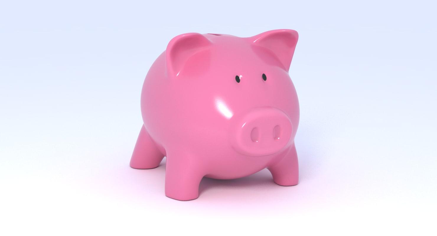 3D piggy bank pig