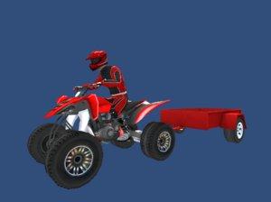 quad bike trailer player 3D
