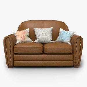 realistic leather sofa 3D