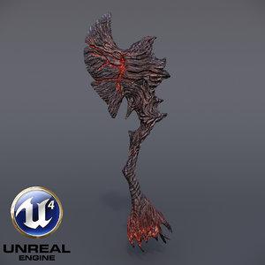 burning axe 3D model