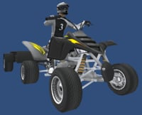 Low Poly Quad Bike With Player & Trailer 3