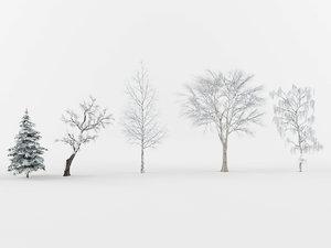 3D model winter trees