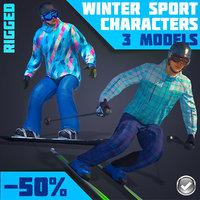 3D model real-time rigged winter sports