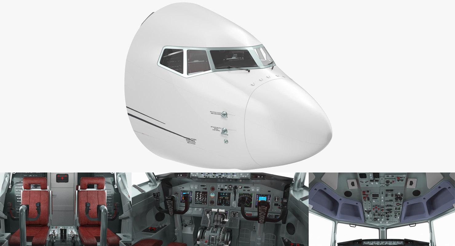 3D model passenger airplane cockpit