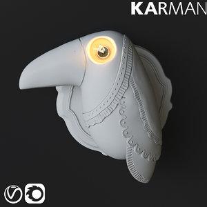 3D karman cubano wall lamp model