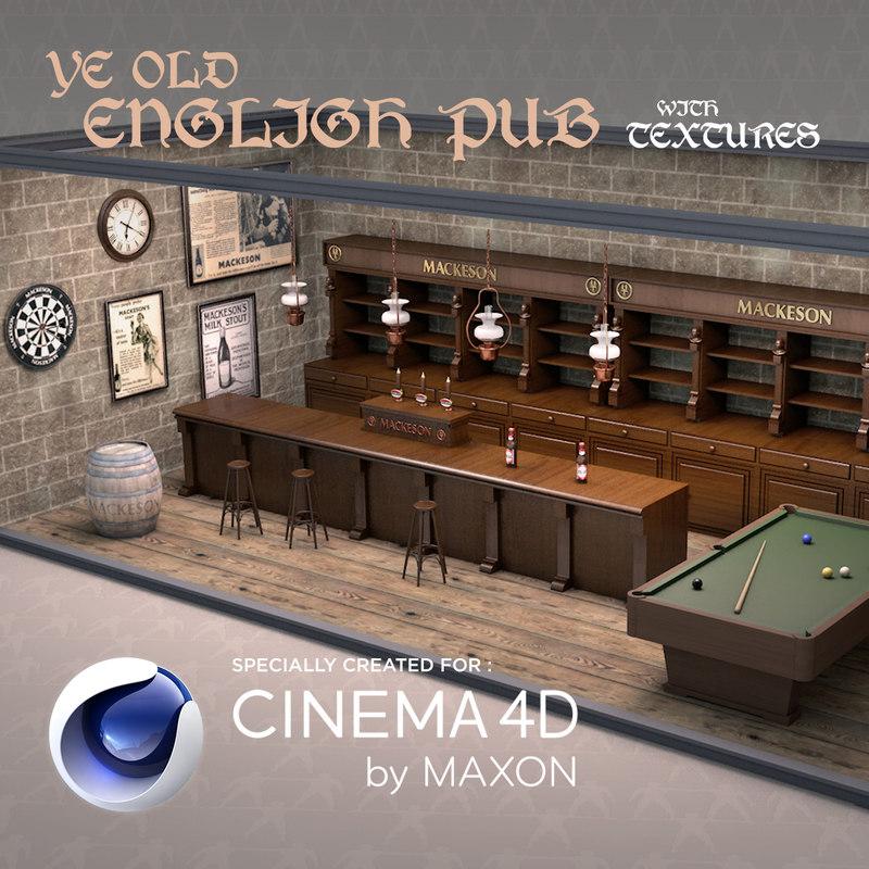 3D old english pub model TurboSquid 1232664