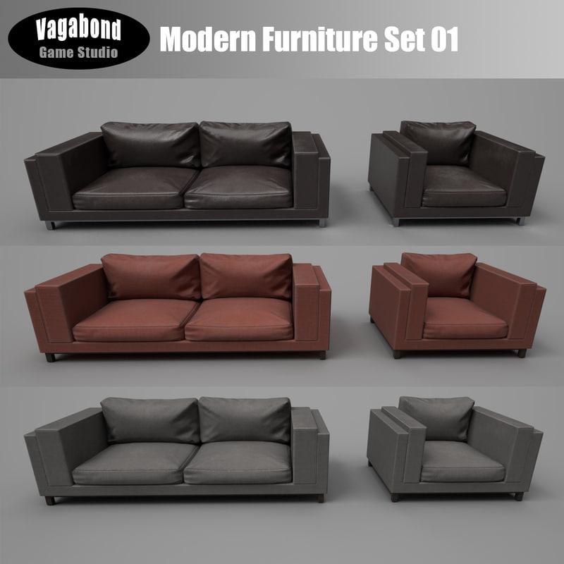 3D model modern low-poly sets
