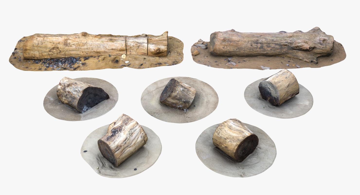 3D model rustic stumps n logs