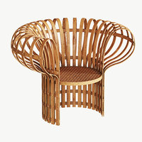 armchair bent woven bamboo 3D model